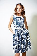 DRESS CASUAL SUMMER COTTON MODERN COLORFUL BELTED POCKET MADE IN EUROPE S M L XL