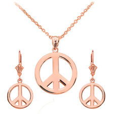 14k Rose Gold Open Boho Peace Symbol Pendant Necklace & Matching Earrings