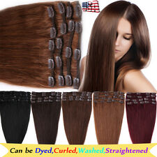 """8PCS Remy Human Hair Extensions Clip in Full Head 8/10/13/16/18/20/22/24"""" BS343"""