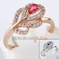 B1-R687 Fashion Flower Ring 18KGP CZ Rhinestone Crystal Size 5.5, 6.5, 8