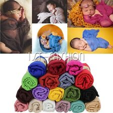 Infant Newborn Baby Stretch Wrap Photo Photography Prop Knit Baby Blanket Rug