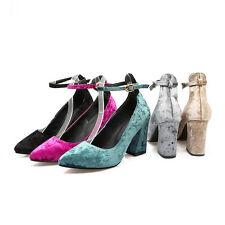 AU All Size New Comfort Soft Velvet Ankle Strap Thick High Heel Lady's Shoes