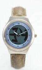 Relic Big Tic Mens Blue Stainless Silver Brown Leather Battery Quartz Watch