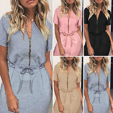 Women Sexy Summer Casual Zipper Lace Up Evening Party Cocktail Short Mini Dress