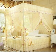 Yellow 4 Corners Post  Bed Canopy Mosquito Netting Or Frame Twin Full Queen King