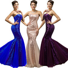 GK Purple Strapless Sequined Mermaid Tulle Ball Gown Evening Prom Party Dress 2