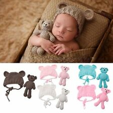 Newborn Baby Crochet Knit Toy Bear + Hat Costume Photography Props Photo Outfits