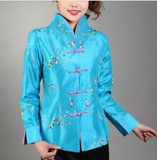 Blue burgundy Chinese Women's silk embroidery jacket /coat Sz: 8 10 12 14 16
