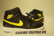 (554724-070) MEN'S AIR JORDAN 1 MID BLACK/VIBRANT YELLOW/WOLF GREY