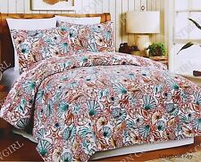 3 Pcs Coastal Beach Coral Starfish Seashells Tropical Ocean Aqua Quilt Set
