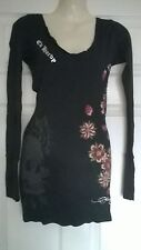 ladies Ed hardy long black flower skull top or short dress Size small 8-10 NEW