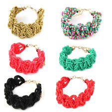 Women Plastic Beads Kont Retro Style Bangle Cuff Bracelet Hand Wrist Chain