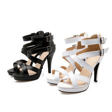 New AU All Size Women Shoes Synthetic Leather Strap Thick High Heel Lady Sandals