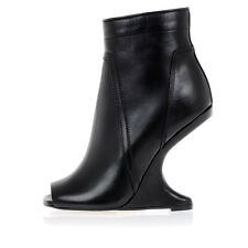 RICK OWENS New Black Leather Woman Ankle Boot Original Made in Italy NWT