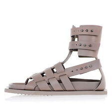 RICK OWENS New Woman Leather Sandals Beige Original Made in Italy NWT