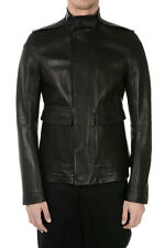 RICK OWENS New Man Black Leather ARMY Jacket Vintage Effect Made in Italy NWT