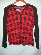 NWT Chaps by Ralph Lauren Women's Red + Black Plaid Long Sleeve Button Neck Top