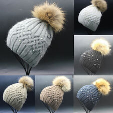 Women Ladies Winter Warm Knitting Beanie Pearl Wool Fur Pom Bobble Hat Cap