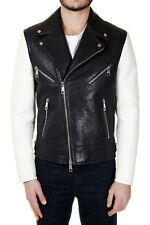 NEIL BARRETT Men Black and White Leather Jacket with Zip Made in Italy New
