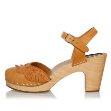 SWEDISH HASBEENS New Woman Brown FRINGY Leather Sandal Wood Heel Original NWT