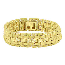 Large 18mm 14k Gold Plated Diamond-Cut Thick Panther Link Bracelet