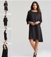 New  Eileen Fisher Linen Handkerchief 3/4 sleeve Black dress XS S M