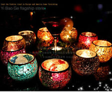 Wedding Party dining mosaic amber glass Candle Holder Romantic gift Tea Light