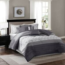 7pc Luxury Grey Geometric Comforter Set with Bed Skirt Shams AND Pillows
