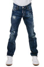 DSQUARED2 New Men Blue Denim cotton jeans pants Trousers Made in Italy