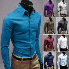 Mens Luxury Casual Formal Shirt Long Sleeve Slim Fit Business Dress Shirts Solid