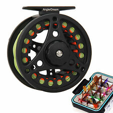 Fly Fishing Reel 3/4 5/6 7/8WT Large Arbor Aluminum Reel & Fly Line & Box &Flies