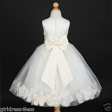 Ivory Pageant Wedding Flower Girl Petals Dress 12M 18M 2 3/4 6 8 10-Many Colors