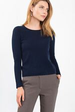 NEW Esprit Womens Melange fine knit wool + cashmere jumper NAVY