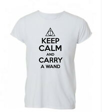 Keep Calm and Carry a Wand Potter Deathly T-Shirt Unisex Tshirt Mens Womens