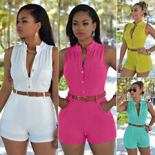 Women Ladies Sleeveless Playsuit Bodycon Party Jumpsuit Romper Trousers Shorts