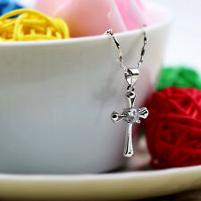 925 Sterling Silver Chic Cross Crystal Necklace Silver Pendant Women Jewelry A