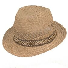 Mens Straw Fedora Hat Summer Trilby Style Cap Natural with Brown Band