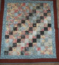 Handmade Quilt - Browns and Blues 43 x 45