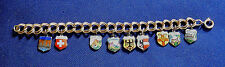 VINTAGE GERMAN 800 Silver ENAMEL CHARMS GF LINKED BRACELET