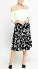 BNWT*SIZE 20*C&A*Ladies Black Floral Lined Elasticated Waist Midi Skirt PLUS new