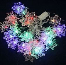 20Pcs Crystal Snowflake LED Wedding Party Decor Outdoor Fairy String Light Lamp