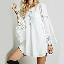 Women Boho Lace Beach Dress Flare Sleeve Hippie Boho Hollow Loose Mini Dress