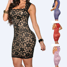 Sexy Women Pack Hip Sleeveless Embroidered lace Dress Tight Straight Slim dress