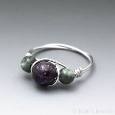 Lepidolite & Seraphinite Sterling Silver Wire Wrapped Bead Ring