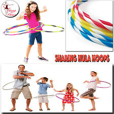HULA HOOPS MULTI COLOURS STRIPES INDOOR OUT DOOR FITNESS GYMNASTIC PLAY 55/75CM
