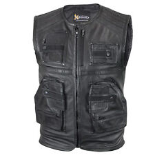 "Xelement Men's ""Task Force"" Leather Motorcycle Vest with Gun Pockets"