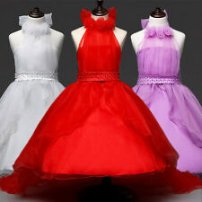 Flower Girl Bows Halter Dress Kids Princess Pageant Wedding Party Prom Ball Gown