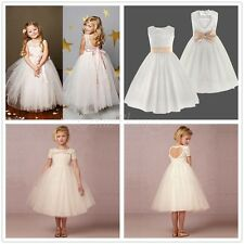 Lace Tulle Flower Girl Dress Wedding Bridesmaid Pageant Princess Birthday Party