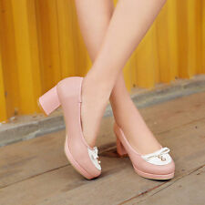 WomenBlock Mid Heel Pumps Sexy OL Lady Round Toe Bowknot Mary Jane Shoes