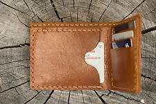 Hand made genuine leather thick men wallet light brown thickheavy duty last long